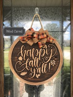 Happy Fall Yall Sign, Happy Fall Yall Door Hanger, Fall Wreath, Wooden Sign, Fall Wreath for Front D - Thanksgiving Design Wooden Door Signs, Front Door Signs, Porch Signs, Wooden Doors, Fall Door Decorations, Fall Decor, Pumkin Decoration, Diy Decoration, Thanksgiving Decorations