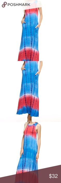 *COMING SOON*  TIE DYE MAXI DRESS WITH SIDE SLIT Tie dye takes on a whole new meaning with this royal blue and fuchsia maxi dress.  Made of 95% rayon and 5% spandex it flows beautifully with you as you walk.  Comes with  pockets also.  Perfect with a cute pair of heeled sandals, wedges or even flip flops on the beach!   You will look beautiful this summer in this dress! Dresses Maxi