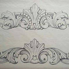 No photo description available. Wood Carving Designs, Wood Carving Patterns, Wood Carving Art, Stencil Designs, Baroque Frame, Filigree Tattoo, Ornament Drawing, Leather Pattern, Scroll Design