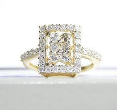 14k Yellow Gold Diamond Cluster Engagement Ring by LadyLibertyGold