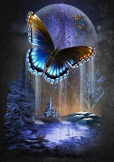 Blue Butterfly Wallpaper, Butterfly Art, Butterfly Painting, Beautiful Nature Wallpaper, Beautiful Moon, Butterfly Pictures, Diamond Art, Moon Art, Beautiful Butterflies
