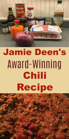 Our family loves Jamie Deen's award-winning chili recipe. Made with sausage, beef, 3 beans, and the secret ingredient -- beer! Made on the stovetop; great for a large crowd. family How to Make Jamie Deen's Award-Winning Chili Recipe with Beer Beef Chili Recipe, Chilli Recipes, Bean Recipes, Mexican Food Recipes, Dinner Recipes, Homemade Chilli Recipe, Kraft Recipes, Best Chili With Beans Recipe, Chili Recipe Using Beer