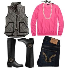 A fashion look from January 2014 featuring long sleeve tee, skinny jeans and tory burch boots. Browse and shop related looks.