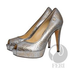 "FERI - SOPHIA - SHOES - Blue Silver Print - Snake skin printed napa leather pump with stiletto heel - Napa leather sole and insole - Colour: Silver/blue with a hint of gold - FERI logo hardware on sole and outside of heel - Heel height: 4.75"" with a platform 1.08""  Invest with confidence in FERI Designer Lines. www.gwtcorp.com/ghem or email fashionforghem.com for big discount"