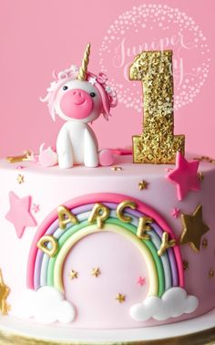 Magically Adorable Pretty in Pink Unicorn Birthday birthday cake. More in my website Magically Adorable Pretty in Pink Unicorn Birthday Cake Unicorn cake by Juniper Cakery Cakes. Torta Hello Kitty, Baby Birthday Cakes, 1st Birthday Cake For Girls, Pretty Birthday Cakes, Fondant Birthday Cakes, 2nd Birthday Cake Girl, Rainbow First Birthday, Girl Cakes, Savoury Cake