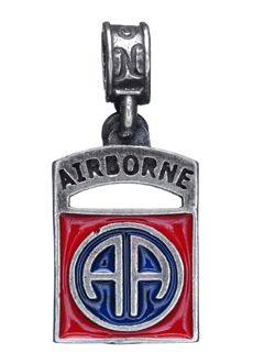 Nomades - 82nd Airborne - 82nd Airborne, Fort Bragg, NC. .925 sterling silver rendition of the 82nd Airborne insignia with red and blue enamel.
