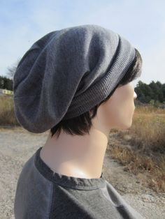 984024f3821 Merino Wool Mens Knit Hat Gray Slouchy Beanie Hat by Vacationhouse