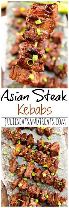 Asian Steak Kebabs ~ Tender, Juicy Steak Bites in a Delicious Asian Marinade! The Perfect Quick Easy Recipe to Fire Up the Grill With! Kabob Recipes, Grilling Recipes, Beef Recipes, Cooking Recipes, Healthy Recipes, Shish Kebab, Beef Dishes, Food Dishes, Antipasto