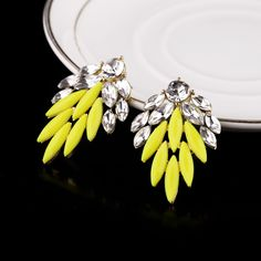 Feminine Artificial Gemstone Stud Earrings In Yellow Color