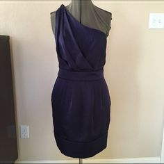 "One Shoulder cocktail dress Jewel tone purple dress with one shoulder and beautiful bodice and strap details. Like new. Lined, boning on bodice sides and pockets!! 16"" UA with a little give. 34"" long. BCBGeneration Dresses One Shoulder"