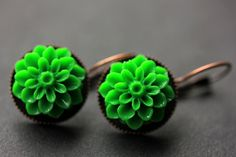 New to StumblingOnSainthood on Etsy: Green Dahlia Flower Earrings. French Hook Earrings. Green Flower Earrings. Lever Back Earrings. Handmade Jewelry. (18.00 USD)