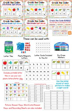 Crack The Code Sight Words! Use initial (beginning) sounds to make and read sight words. Purchase each level separately or save 50% when you purchase the bundle!