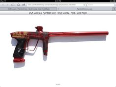 DLX 2.0 skull candy red/goldfade paintball gun