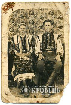 "Young married couple from Ivane-Puste village, Ternopil region, Ukraine. Beg. of the 20th c. Traditional costume. Folk dress. Світлина ""Весільний портрет"""