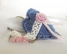 Romantic heart pendant Recycled denim. #heart #pendant