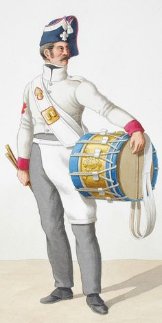 1818. Royal Guard. Infantry. (4th Regiment) Grenadiers Drum, Drum Major.