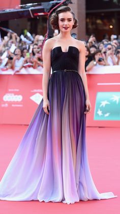 / Pin curated by Pretty Planner Weddings & Events www.prettyplannerweddings.com / Lily Collins wearing Elie Saab to the 'Love, Rosie' premiere during the Rome Film Festival. via @stylelist