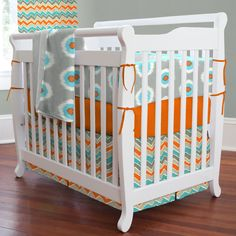 Gray and Orange Ikat Dot Mini Crib Bedding #carouseldesigns