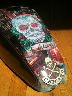 Decoupage Fuel Tank. Just incase you want your motorcycle to match your tattoos.