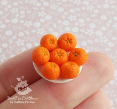 Miniature bowl with oranges for dolls and от SweetMiniDollHouse
