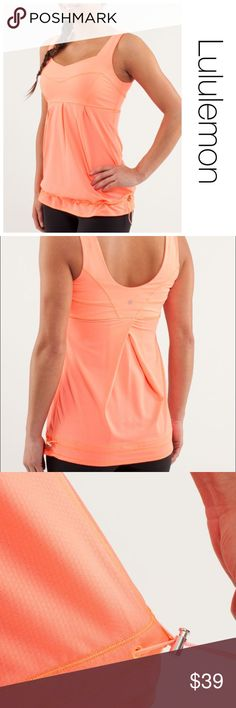 Lululemon Run Tame Me Tank in Pop Orange size 10 ♦️Excellent condition. No holes, stains or piling. removable bra pads are not included♦️Laying flat armpit to armpit: approximately 16.5 inches                       ♦️Laying flat from the back of the neck to the bottom of the front hem is approximately 27 inches lululemon athletica Tops Tank Tops