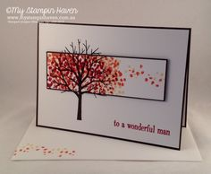 Sheltering Tree, Happy Birthday Everyone, spotlight technique birthday card MyStampinHaven StampinUp Karten Diy, Hand Stamped Cards, Stamping Up Cards, Thanksgiving Cards, Fall Cards, Sympathy Cards, Masculine Cards, Halloween Cards, Paper Cards
