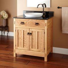 "30"" Mission Hardwood Vanity for Semi-Recessed Sink"