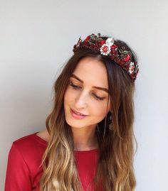 fe592f3d Red dolce headband wedding crystal tiara pageant tiara jeweled headband  beaded woman wedding dolce crown baroque headband bridal headpiece
