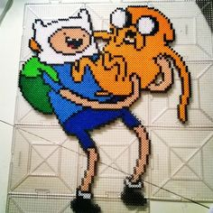 Finn and Jake - Adventure Time perler beads by ccereu