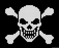 Halloween skull and bones cross stitch. Cross Stitch Skull, Cross Stitch Kits, Cross Stitch Patterns, Quilt Patterns, Crochet Skull Patterns, Bead Loom Patterns, Pixel Crochet, Crochet Chart, Knitting Charts