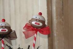 Sock Monkey inspired cake pops via Mom's Killer Cakes and Cookies on etsy