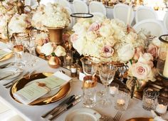 Beautiful table centrepieces #weddings #flowers @Jessica Tollette