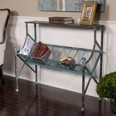 Shabby French Tuscan Cottage Chic Rustic Turquoise Black Metal Bookshelf Table S