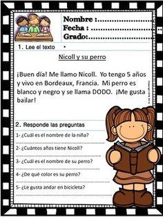 READING COMPREHENSION FOR KIDS - LEVEL 1 - SPANISH VERSION - VOLUME 1 - TeachersPayTeachers.com