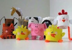 Cardboard Tube Farm Animals: The Round Up! - Cardboard Tube Farm Animals: The Round Up! – Crafts by Amanda - Kids Crafts, Preschool Crafts, Projects For Kids, Craft Projects, Arts And Crafts, Craft Ideas, Easy Crafts, Farm Animal Crafts, Farm Animals