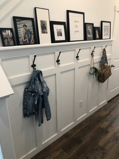 Dark Accent Walls, Board And Batten, Entryway Decor, Shelving, Cool Photos, Gallery Wall, House Ideas, Future, Modern