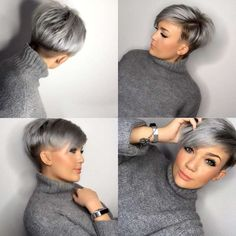 One of the most popular haircuts in 2016 is short hair. It is one Short Grey Hair Hair Haircuts Popular Short Short Grey Hair, Short Hair Cuts For Women, Short Hair Styles, Grey Pixie Hair, Short Hair Back View, Blue Grey Hair, Blonde Pixie Cuts, Undercut Hairstyles Women, Pixie Hairstyles