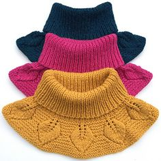 Ravelry: Bladhals / Leafy Collar pattern by Strikkelisa hat kids english Bladhals / Leafy Collar Kids Knitting Patterns, Knitting For Kids, Free Knitting, Crochet Patterns, Tricot Simple, Knit Crochet, Crochet Hats, Knitted Hats Kids, Collar Pattern