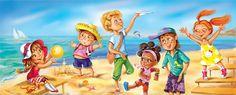 дети море иллюстрация