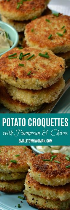 Potato Croquettes are delicious crisp fried mashed potato patties. Add a two minute Garlic Aioli dipping sauce and you have the ultimate taste experience. Potato Dishes, Potato Recipes, Veggie Recipes, Vegetarian Recipes, Cooking Recipes, Healthy Recipes, Aloo Recipes, Vegetarian Appetizers, Potato Croquettes