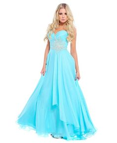 Floaty chiffon, strapless Grecian styled prom dress, with full skirt and rouched sweetheart neckline by Ruby Prom.