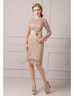 mother of the bride dresses   Sheath / Column Petite Mother of the Bride Dress Knee-length Lace with ...