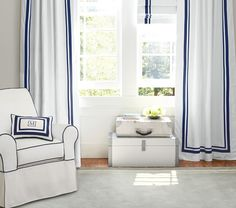 could do all windows behind her dresser in roman shades (with purple ribbon trim) and the longer window by her bed in matching curtains like this (except purple ribbon trim). I think adding ribbon trim to any curtains would be pretty easy with fabric glue. Harper Blackout Cordless Roman Shade | Pottery Barn Kids