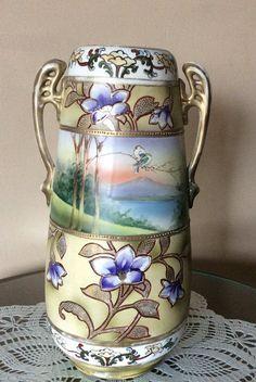 Vintage Hand Painted M.M. Decorative Vase/ by ThroughPlacesandTime