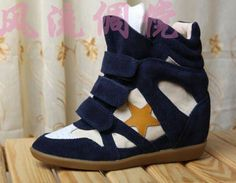 Isabel Marant Wedge Sneakers High Top Suede Leather Blue  $172.00