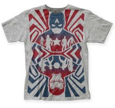 - Officially licensed - Big Print Subway Style Tee Shirt featuring Captain America Opposing forces design - New Captain America Movie! - Pre-order - allow 7-14 days for item to depart to you - Iron Ma