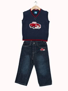 Car Sweater Vest and Jeans - Infant and Toddler. Available in navy and orange. Only $24.99