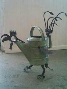 Watering Can Art!!! Bebe'!!! Cute Garden Art!!!