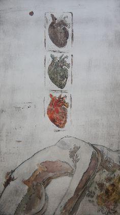 Vitor Novato-Amor Gravura em metal, xilogravura e guache sobre papel. 19x34cm