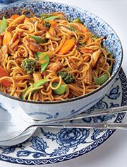 Chicken Lo Mein....Mom makes this, I love it. Super good as leftovers too.